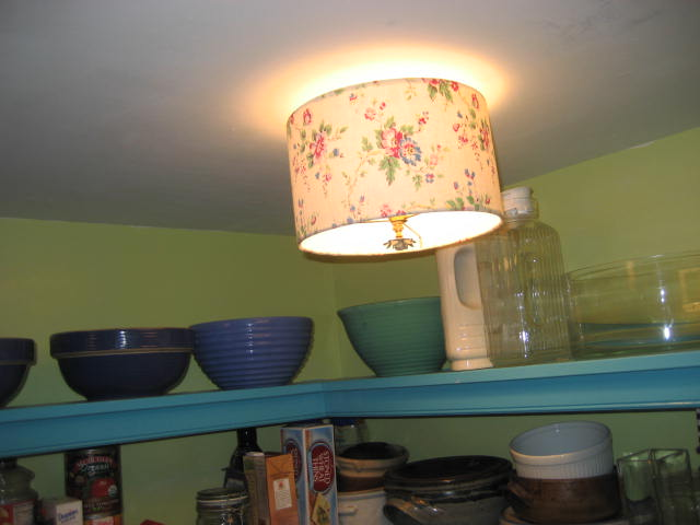 Judys painted pantry with ceiling drum shades the lampshade lady blog note shades dont match on purpose one is a vintage french fabric from loody lady ebay name and the other is a heather bailey cotton print aloadofball Gallery