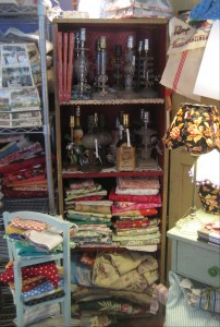 fabric stash and vintage lamps