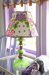 Hankie Lampshade on Depression Glass Lamp