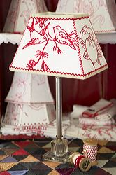 I love to design lampshades using vintage embroideries.